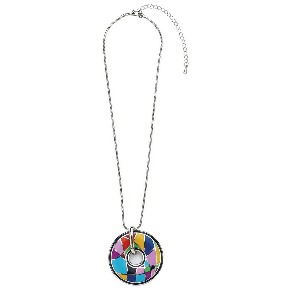Necklace With A Pendant Abstract Crazed - Disc Made With Enamel & Zinc Alloy by JOE COOL