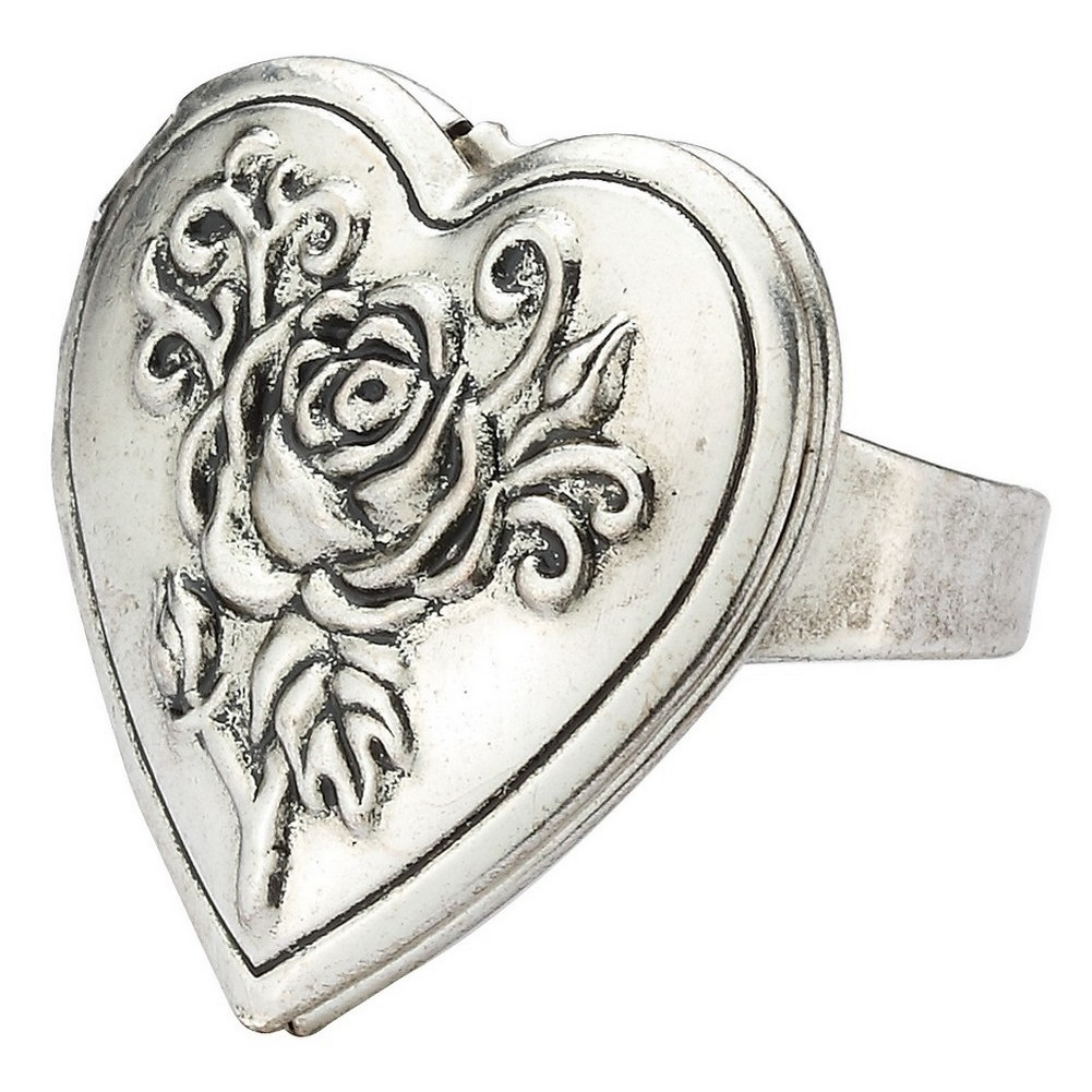 Ring With Heart Locket Made With Tin Alloy by JOE COOL