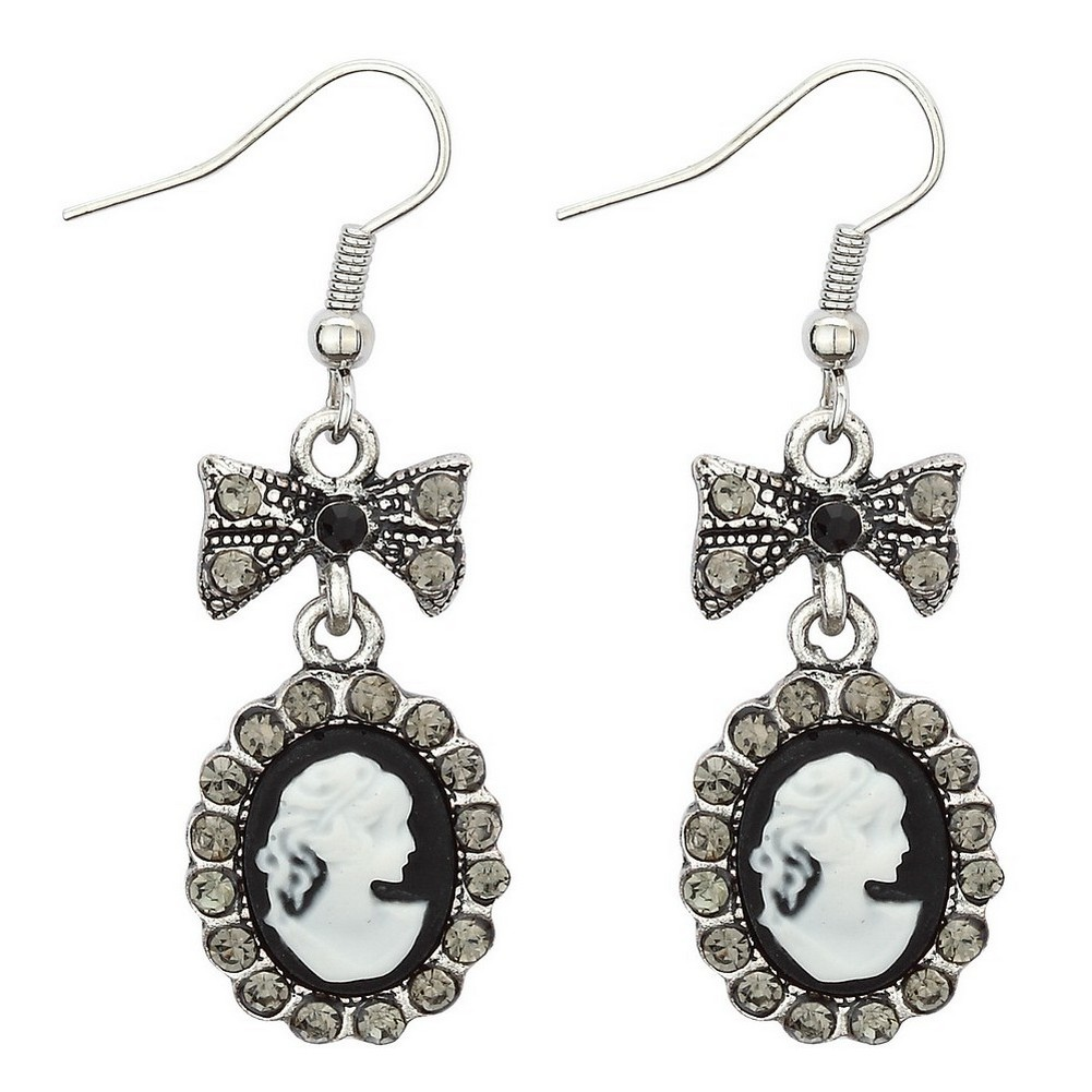 Drop Earring Set Bow & Cameo Made With Crystal Glass & Tin Alloy by JOE COOL