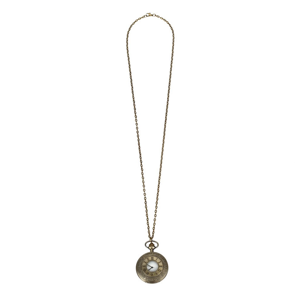 Necklace With A Pendant Low Relief Design & Roman Numerals Fob Watch Made With Tin Alloy by JOE COOL