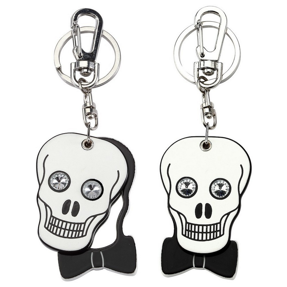 Handbag Charm Skull Compact Mirror Made With Acrylic & Crystal Glass by JOE COOL