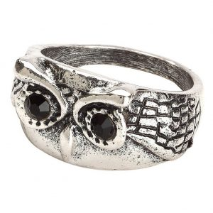 Ring Owl Face Made With Tin Alloy & Crystal Glass by JOE COOL