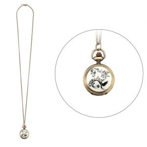 Necklace With A Pendant Bird Clock With Antique Finish 80cm Made With Tin Alloy & Glass by JOE COOL