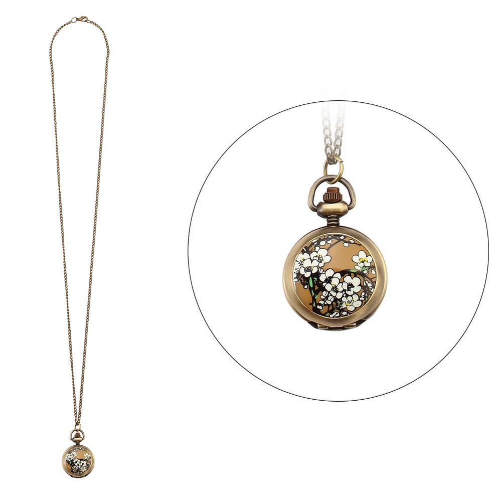 Necklace With A Pendant White Flower Clock With Antique Bronze Finish Made With Tin Alloy & Glass by JOE COOL
