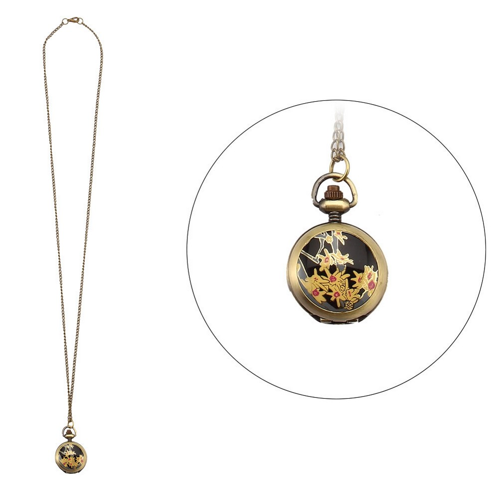 Necklace With A Pendant Flower Clock With Antique Finish Made With Tin Alloy & Glass by JOE COOL