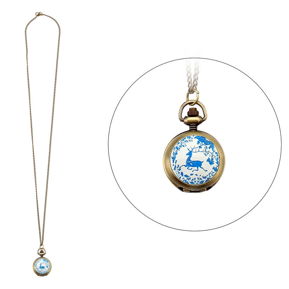 Necklace With A Pendant Stag Clock With Antique Finish Made With Tin Alloy & Glass by JOE COOL