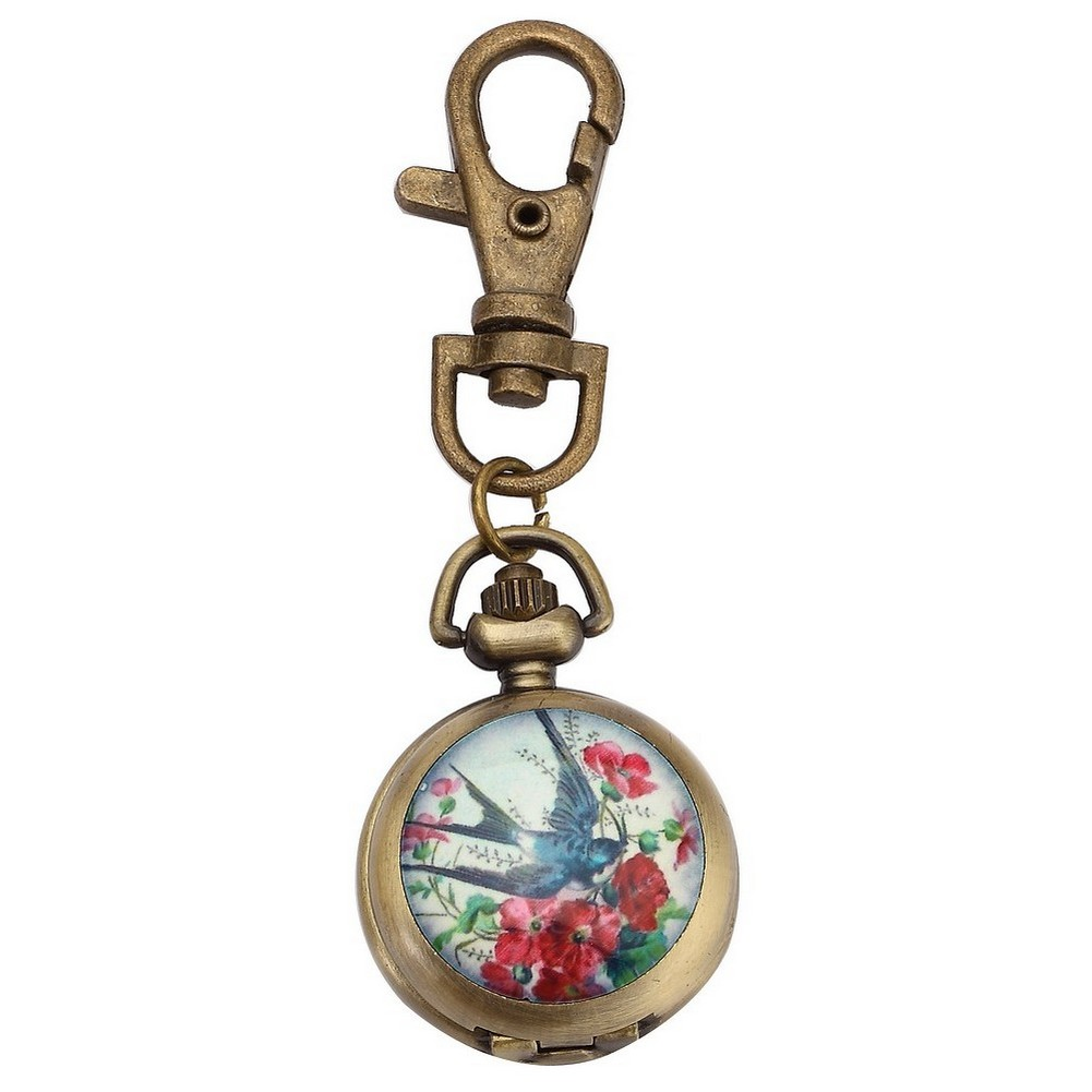 Bag  &  Phone Charm Dome With Bird In Flight Clock Made With Tin Alloy & Glass by JOE COOL