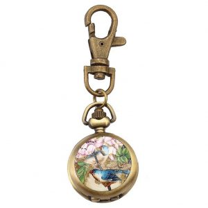 Bag  &  Phone Charm Dome With Cherry Blossom Clock Made With Tin Alloy & Glass by JOE COOL