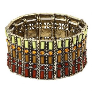 Bracelet 3 Row 35mm Elasticated Made With Tin Alloy & Crystal Glass by JOE COOL