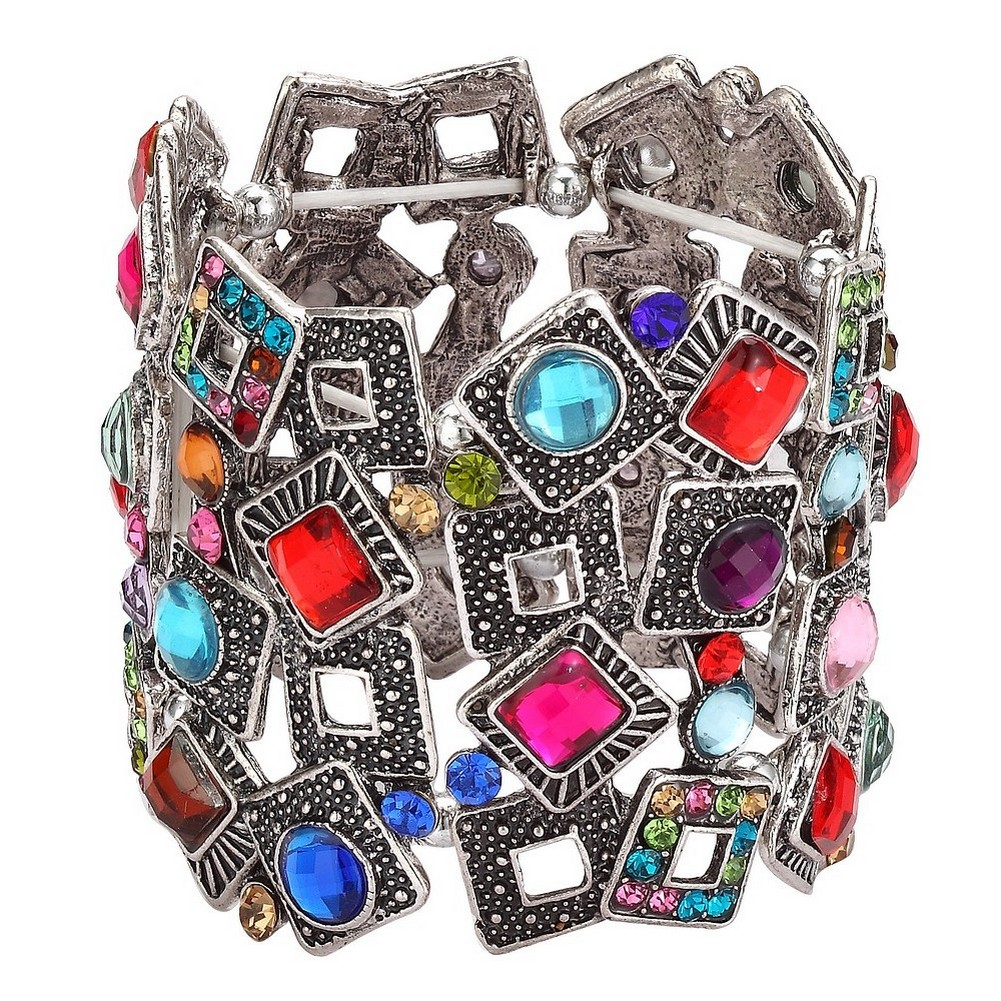 Bracelet Random Square Overlay In 55mm Made With Tin Alloy & Crystal Glass by JOE COOL