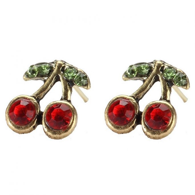 Stud Earring Embedded Cherry Made With Tin Alloy & Crystal Glass by JOE COOL