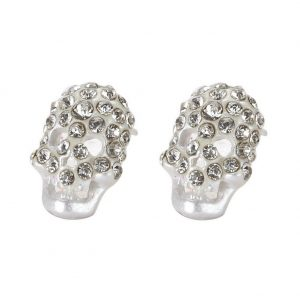 Stud Earring Embedded Skull Made With Tin Alloy & Crystal Glass by JOE COOL