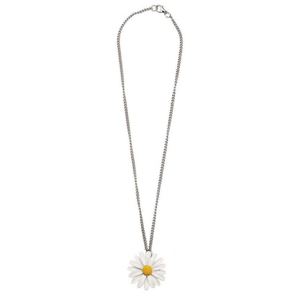 Necklace With A Pendant Daisy On A Chain Made With Tin Alloy by JOE COOL