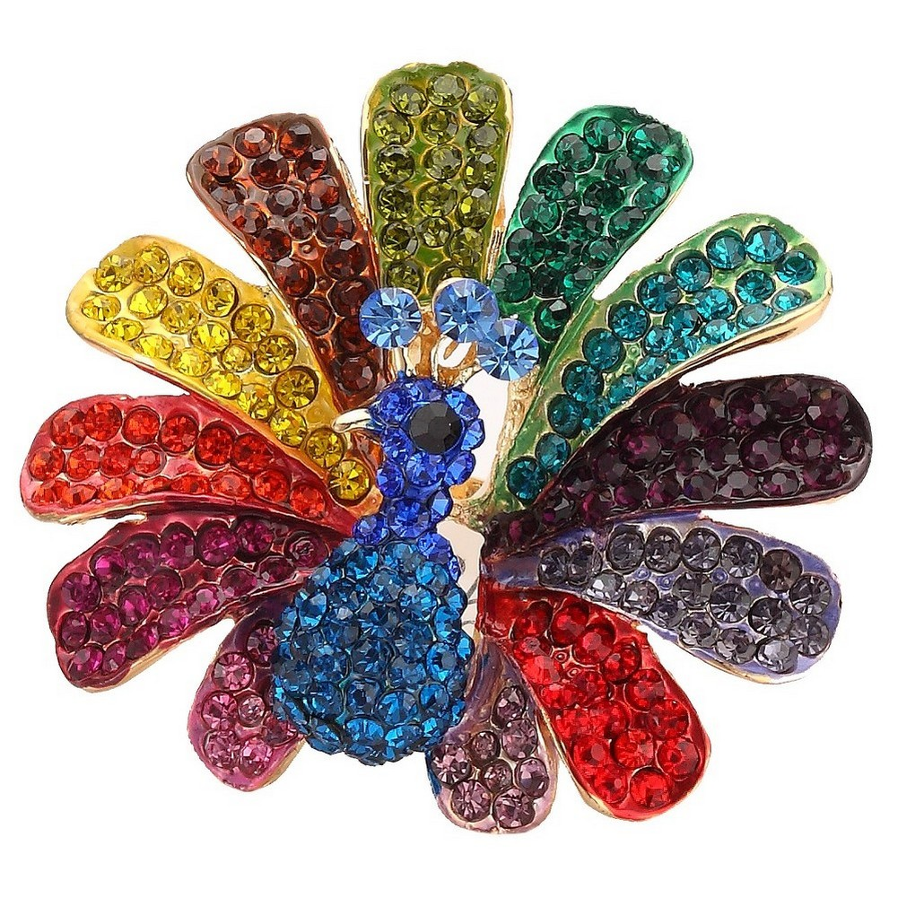 Ring Encrusted Rainbow Peacock Made With Zinc Alloy & Crystal Glass by JOE COOL