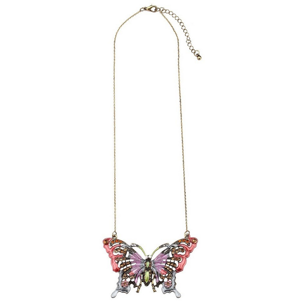 Necklace With A Pendant Large Pastel Butterfly Made With Zinc Alloy & Crystal Glass by JOE COOL