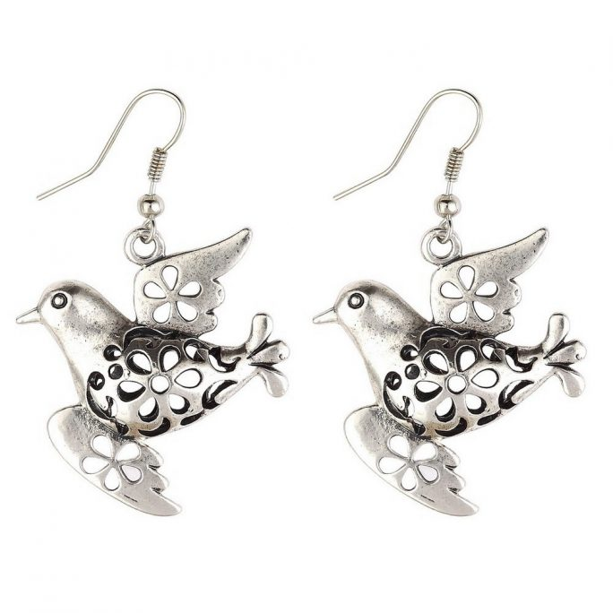Drop Earring Hollow Fretwork Dove Made With Tin Alloy by JOE COOL
