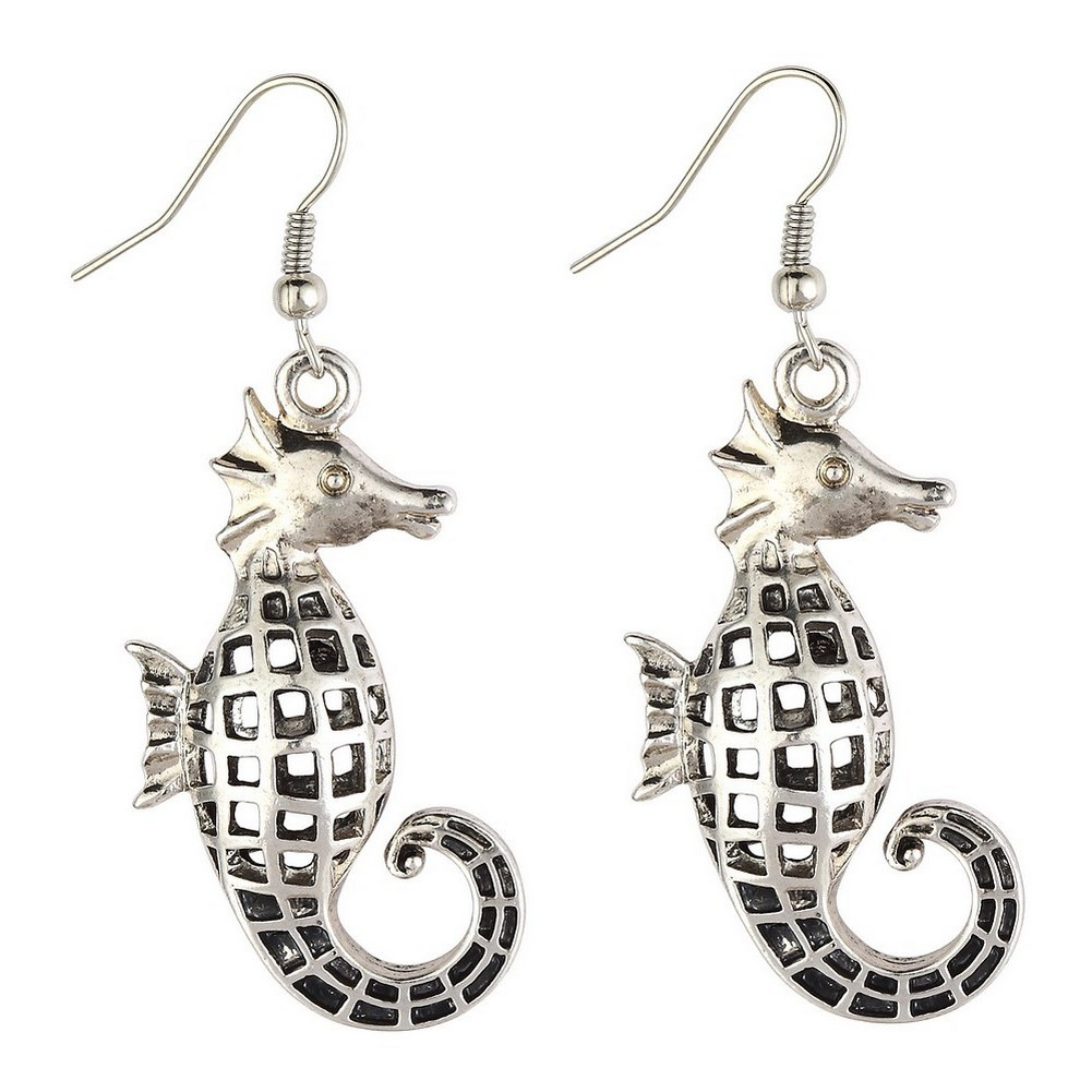 Drop Earring Hollow Fretwork Seahorse Made With Tin Alloy by JOE COOL