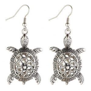 Drop Earring Hollow Fretwork Turtle Made With Tin Alloy by JOE COOL