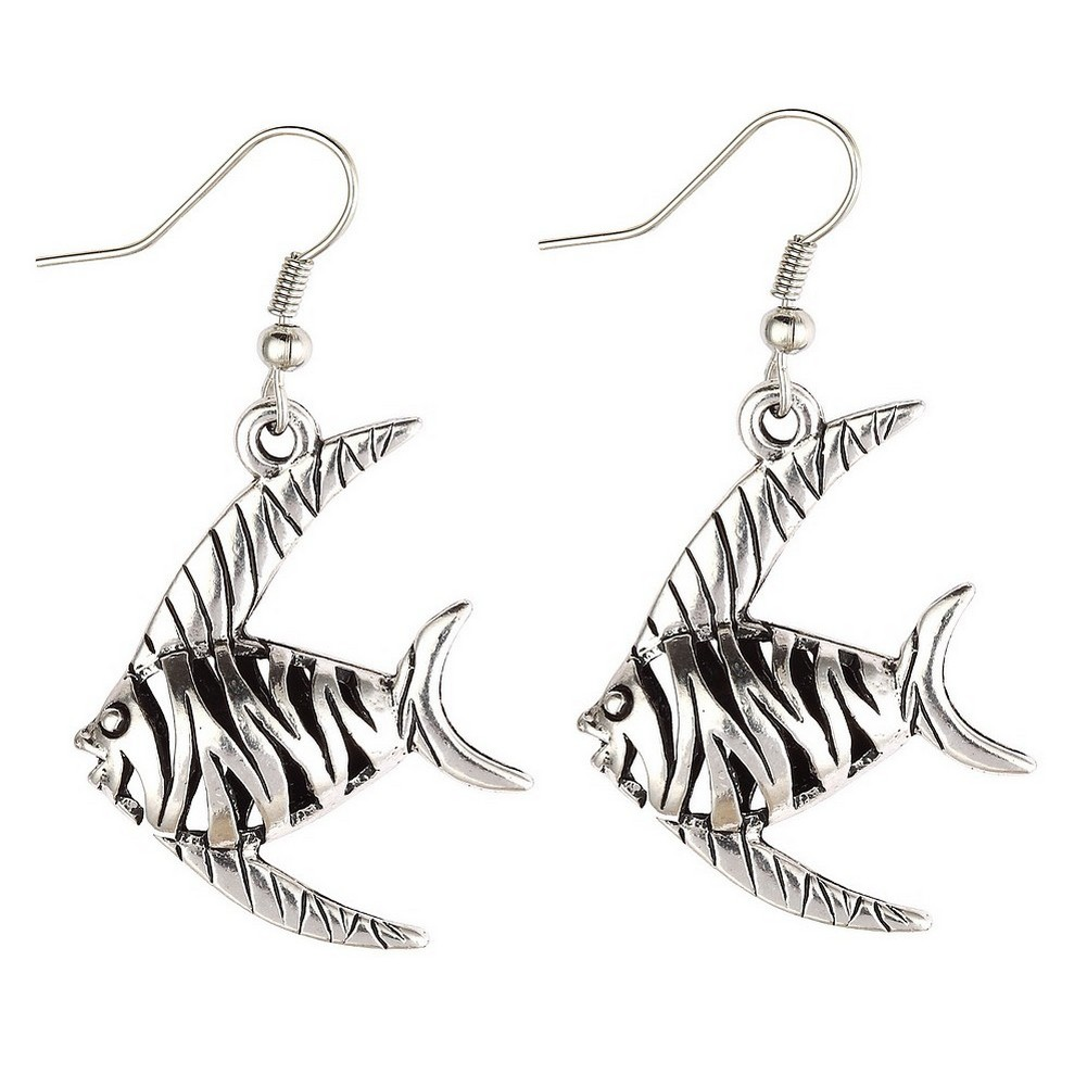 Drop Earring Hollow Fretwork Fish Made With Tin Alloy by JOE COOL