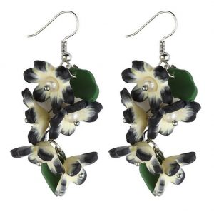 Drop Earring Trailing Flower Bouquet Made With Resin & Crystal Glass by JOE COOL