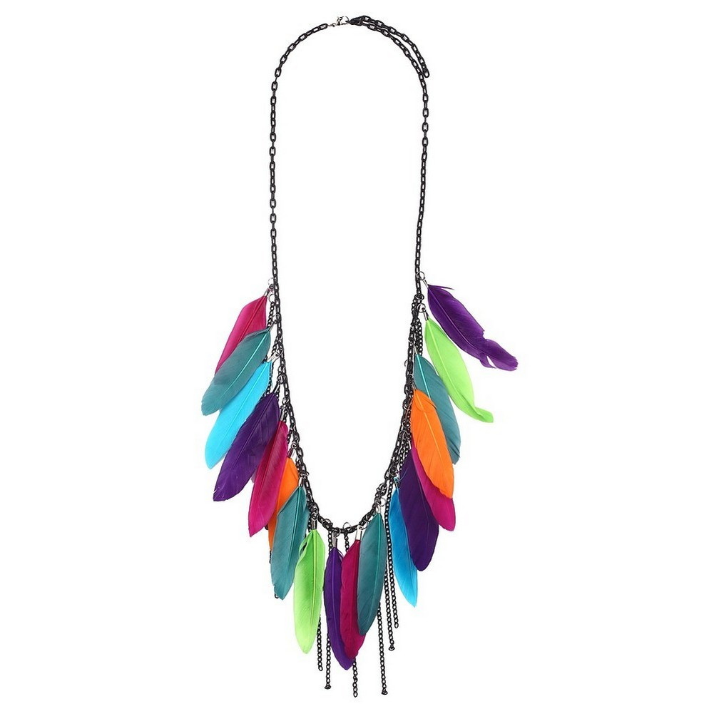 Necklace Chain Multi-coloured Edged Chain Made With Tin Alloy & Feather by JOE COOL
