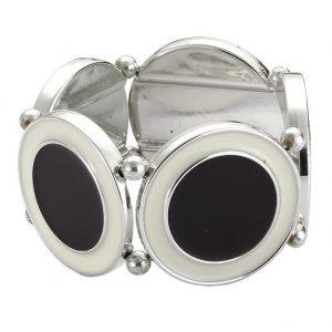 Bracelet Monochrome Circles Made With Tin Alloy & Enamel by JOE COOL