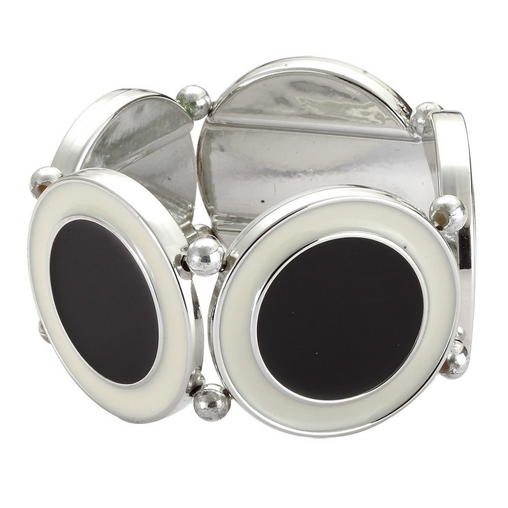 Bracelet Monochrome Circles Made With Tin Alloy & Enamel by JOE COOL