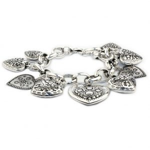 Bracelet Leaf Rose & Heart Charms Made With Tin Alloy by JOE COOL