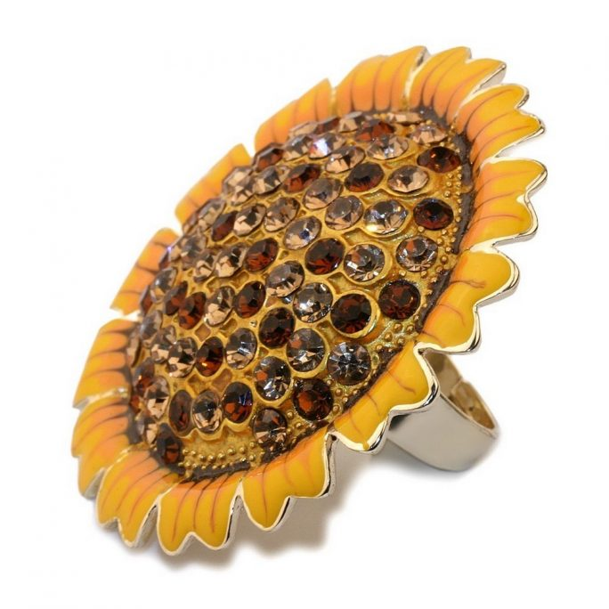 Ring Sunflower Made With Crystal Glass & Zinc Alloy by JOE COOL