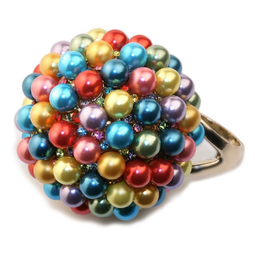 Ring Pearl  Ball 40mm Made With Zinc Alloy & Crystal Glass by JOE COOL