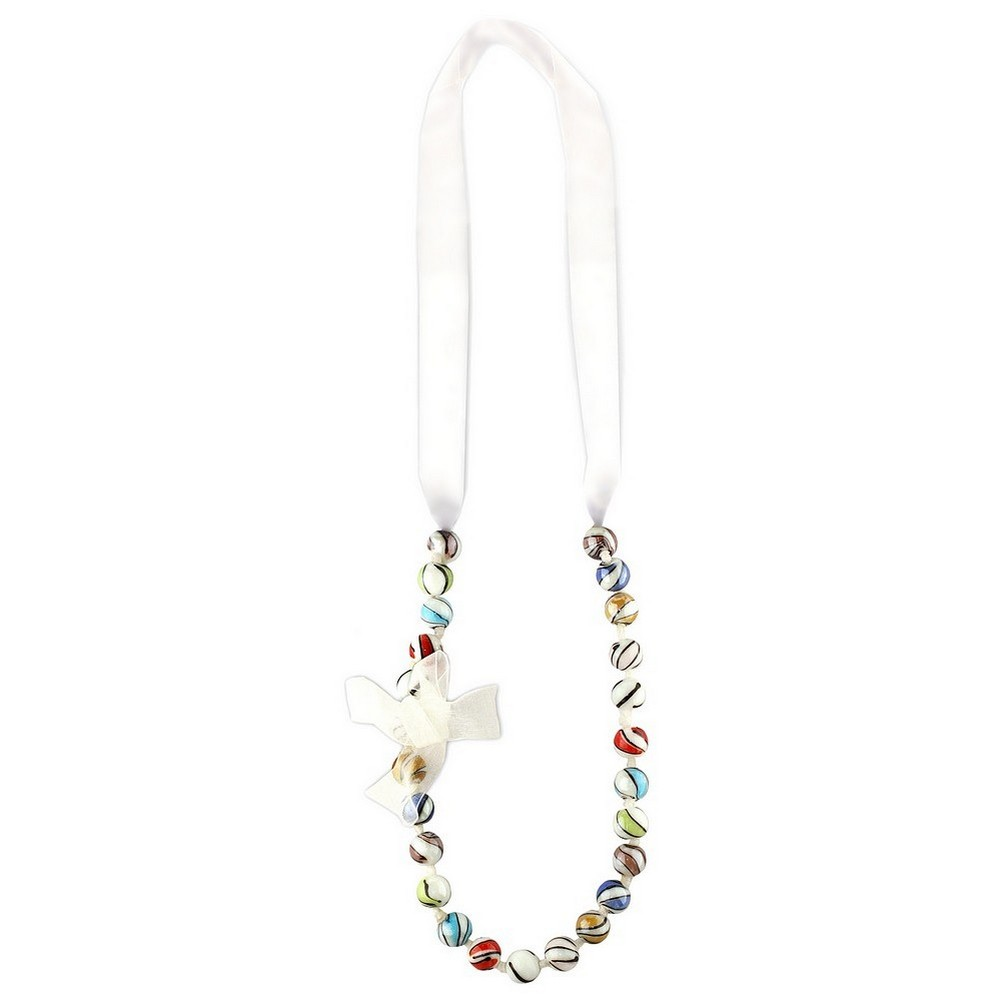 Bead String Necklace Marbled Beads With Tie Fastening Made With Organza & Glass by JOE COOL