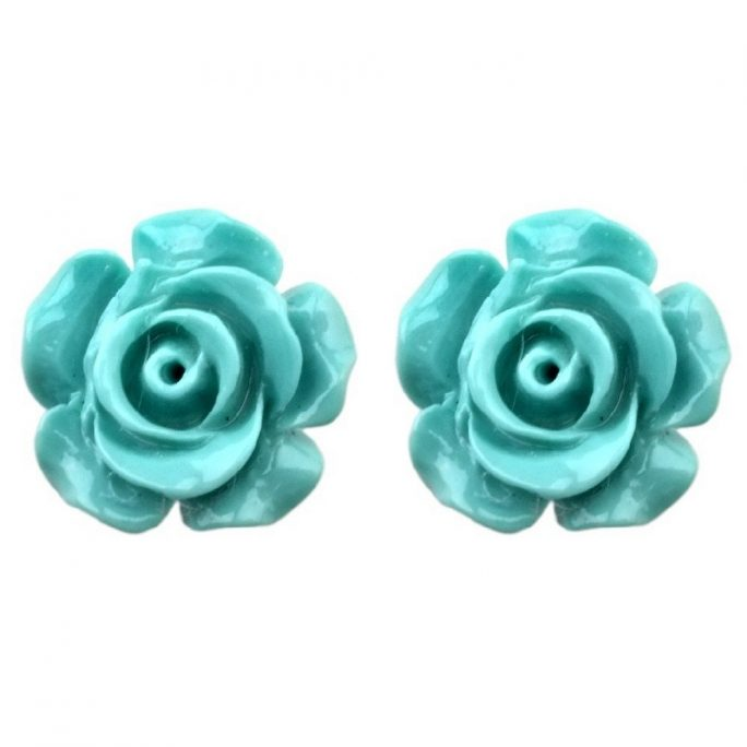 Stud Earring Pastel Rose Made With Resin by JOE COOL