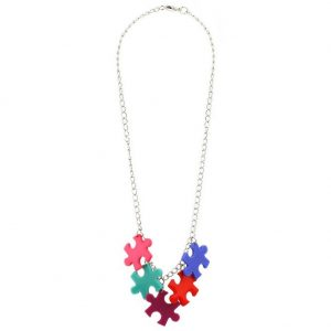 Necklace Chain 5 Small Pieces Of   Jigsaw Made With Acrylic & Tin Alloy by JOE COOL