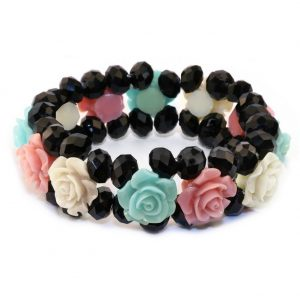 Bracelet Band Of Rose Pastel Made With Crystal Glass & Resin by JOE COOL