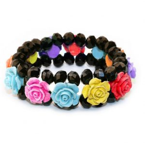 Bracelet Band Of Roses Of Bright Assortment Made With Crystal Glass & Resin by JOE COOL