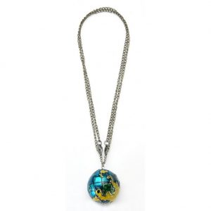 Necklace With A Pendant With Globe Pendant 80cm (max) Made With Tin Alloy by JOE COOL