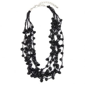 Bead String Necklace Beads On 6 Strands 42cm With 5cm Extension Made With Crystal Glass by JOE COOL