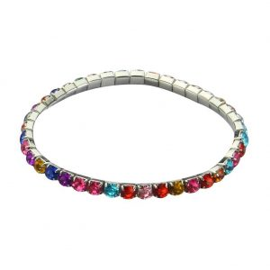 Bracelet Multi Coloured Faceted Beads Elasticated Made With Acrylic & Tin Alloy by JOE COOL