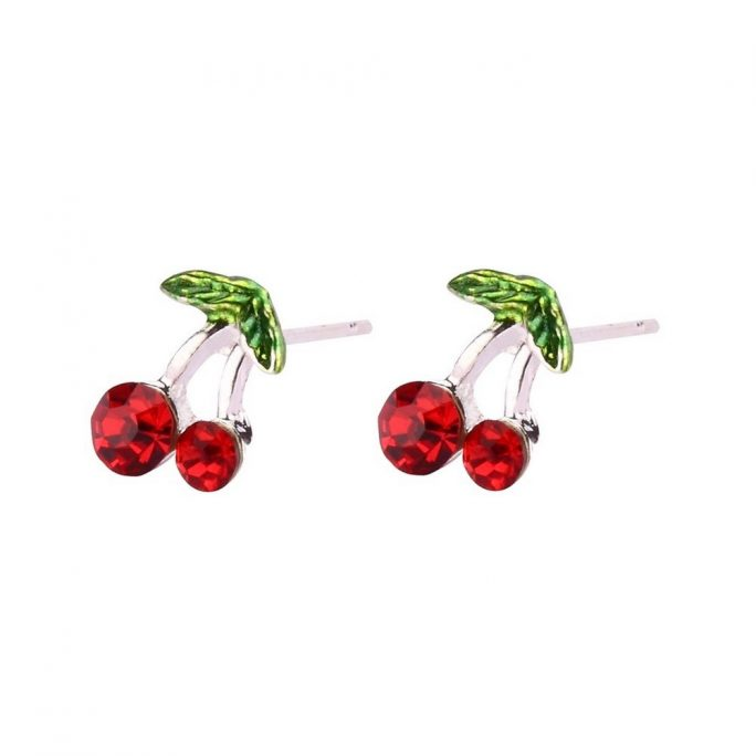 Stud Earring Cherries Made With Crystal Glass & Silver Plated by JOE COOL