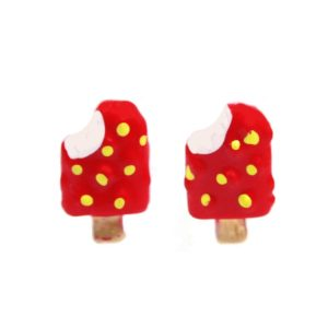 Stud Earring Ice Lollies Less One Bite Made With Resin & Tin Alloy by JOE COOL