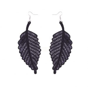 Drop Earring Lace Leaf Made With Cotton by JOE COOL