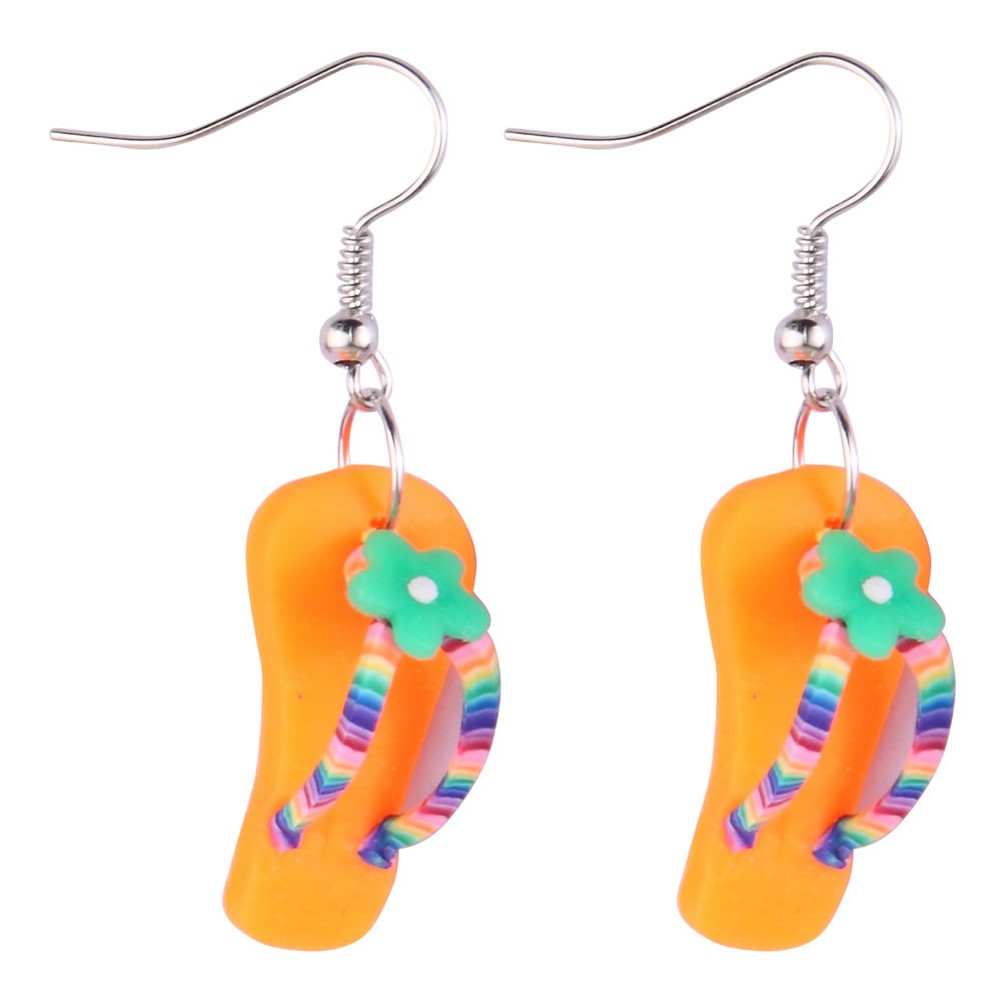 Drop Earring Flip Flop With Flower Made With Resin by JOE COOL
