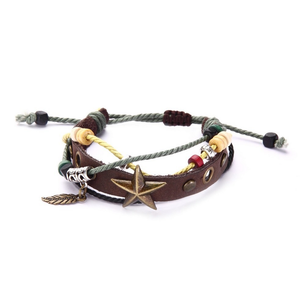 Bracelet With Star Detail Made With Leather & Cotton by JOE COOL
