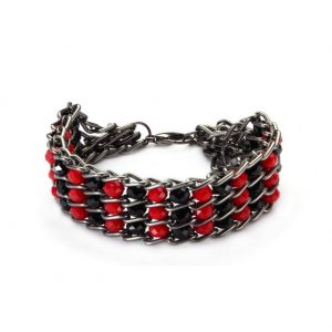 Bracelet Embedded Faceted Beads 18cm Made With Aluminium & Crystal Glass by JOE COOL