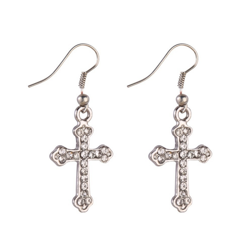 Drop Earring Embedded Cross Made With Tin Alloy & Crystal Glass by JOE COOL