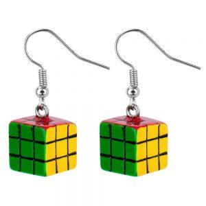 Drop Earring Rubix Cube Made With Acrylic by JOE COOL