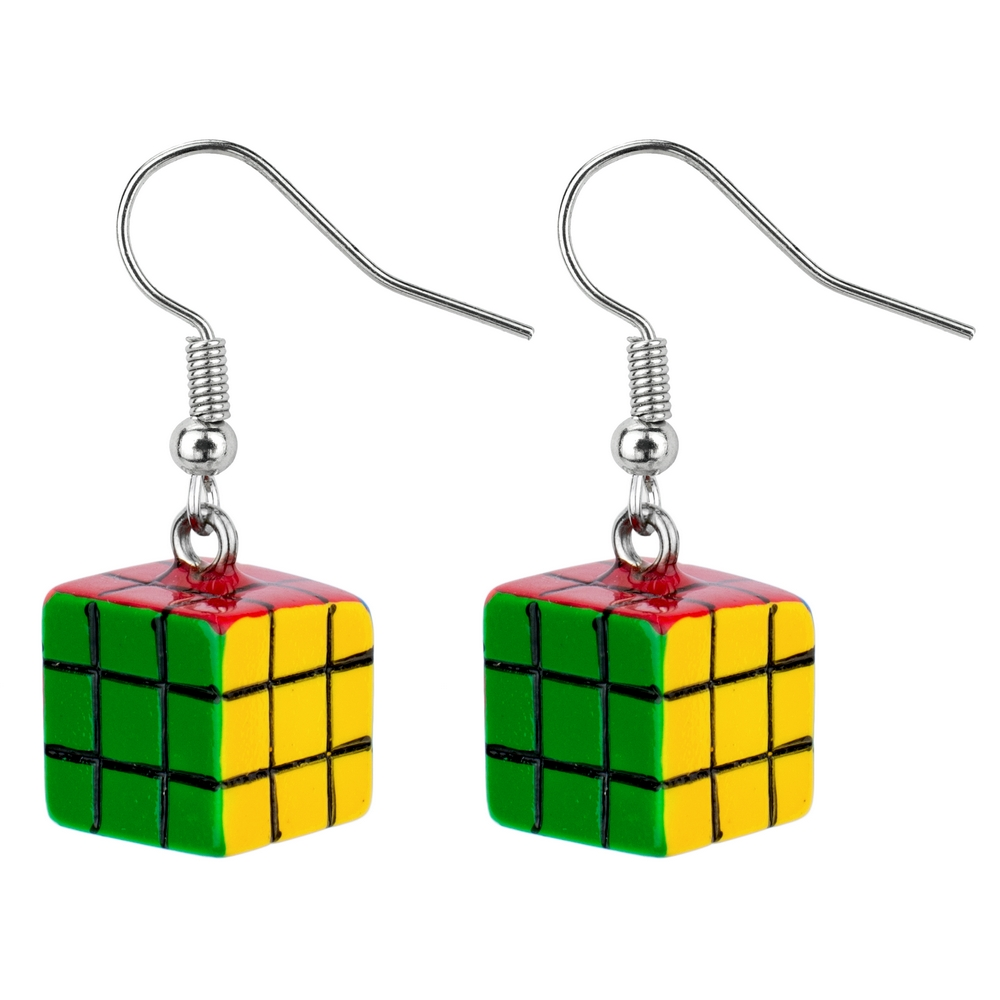 Drop Earring Rubix Cube Made With Acrylic by JOE COOL