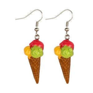Drop Earring Ice Cream Waffle Cone Made With Resin by JOE COOL