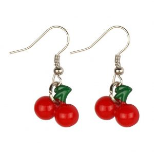 Drop Earring Cherries Made With Resin by JOE COOL