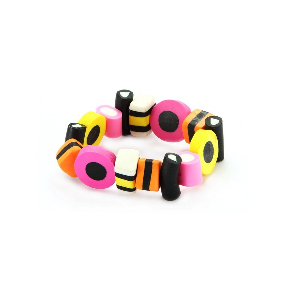 Bracelet Liquorice Allsorts Elasticated Made With Resin by JOE COOL
